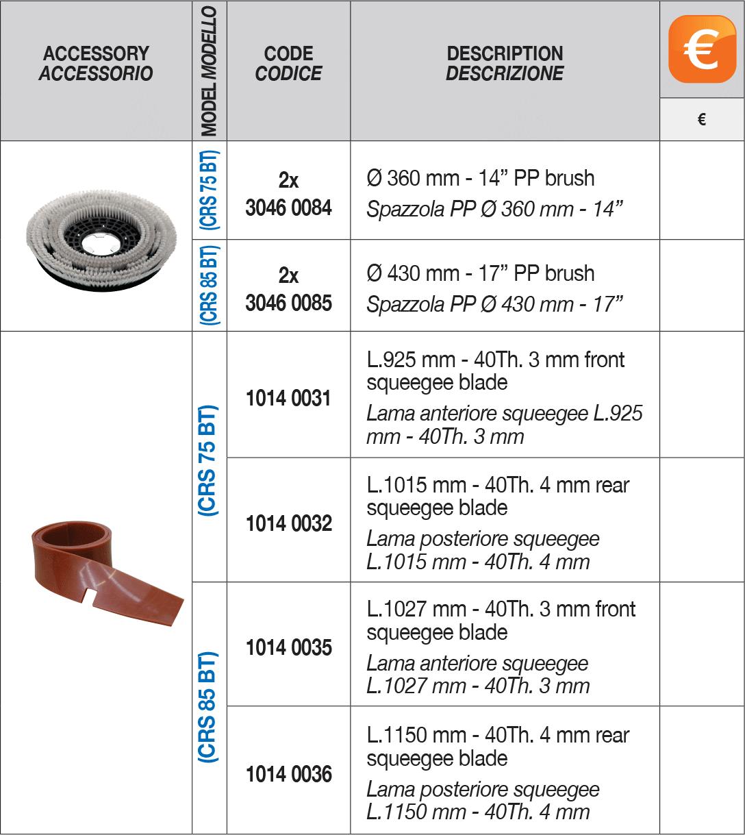 crs 75 85 bt standard accessories Comet