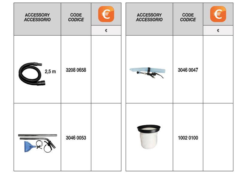 cvc 278 xh standard accessories Comet