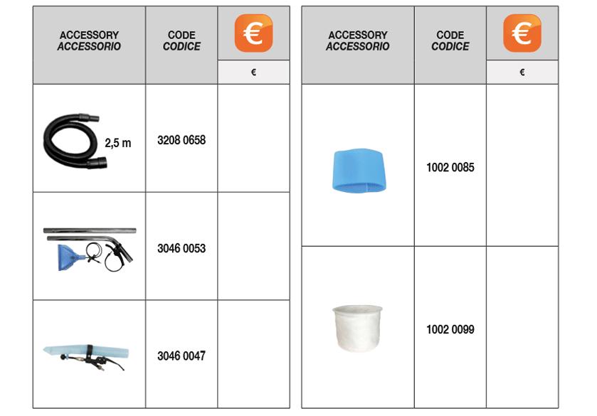 cvc 150 xh standard accessories Comet
